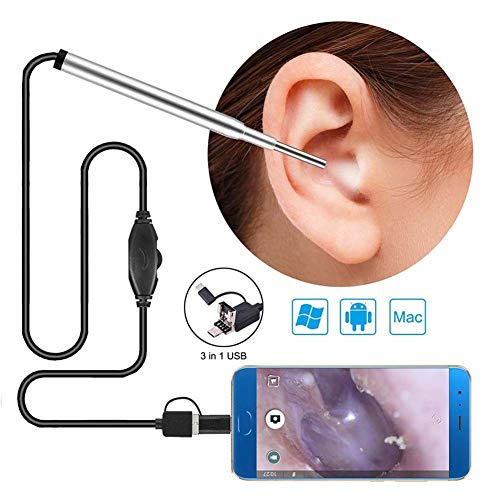 Ohrreinigung Endoskop, USB Borescope Inspection Ear Wachs-Remover Tool 3.9mm Ear Cleaner Visual Earpick Digital Endoscope mit 6 Adjustable LED-Licht für Android Smartphone PC Mac