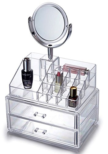 Oxid7® Organizer für Kosmetik Acryl | Aufbewahrungsbox für Make Up und Schmuck | Schmuckkästchen | Schubladenbox Schminke - 37,5x24x17 cm - 16 Fächer + 2 Schubladen und Spiegel mit Vergrößerung