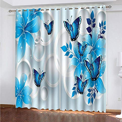 KAOLWY Cortinas De Ducha,280x250cm Mariposa Azul,Moderno Ventana Salon Paneles con Ojales para Sala Cuarto Comedor Salon Cocina Habitación