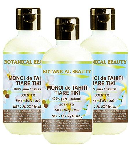 MONOI de TAHITI TIARE TIKI OIL 100% Natural / 100% PURE BOTANICALS. 2 Fl.oz.- 60 ml. For Skin, Hair and Nail Care.