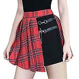 Mujeres Falda Plisada Gótica,Sexy Cintura Alta Mini Falda Tartán Punk Retro Verano Corto Falda con Cremallera