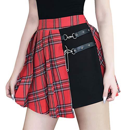 Damen Sexy Faltenrock Vintage Plaid Harajuku Stil Rock Kette Spleißen Gothic Rock Hohe Taill Minirock Sommer Kurz Rock