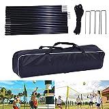 fuguzhu Kit de red de voleibol portátil de cuatro lados con trípode y red, fácil de configurar para deportes al aire libre, camping, playa