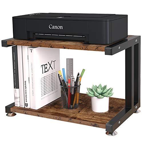 OROPY Hölzerner Druckerständer, 2 stufiger Schreibtisch Organizer für Drucker, Fax, Scanner, Bürobedarf, Dokumentarablage 44 x 28 x 28cm