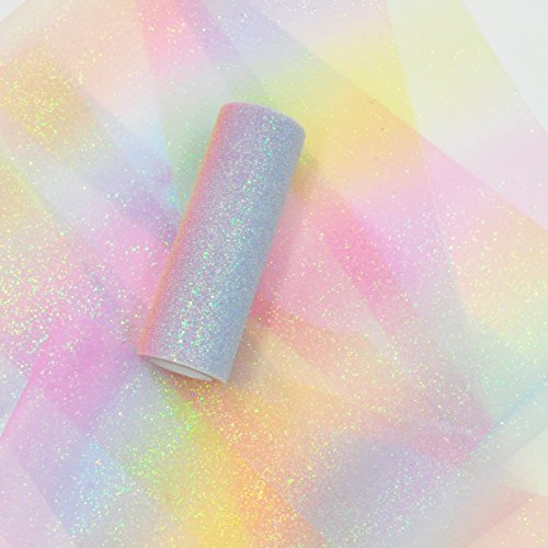 NICROLANDEE Rainbow Glitter Tulle Rolls 6 inch x 10 Yards (30 feet) Shimmer Color for Table Runner Chair Sash Bow Pet Tutu Skirt Sewing Crafting Fabric Unicorn Birthday Baby Shower Wedding Gift Ribbon