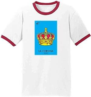 La Corona Crown Loteria Card Mexican Bingo Graphic Tee Ringer T-Shirt