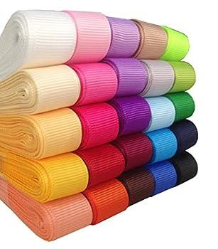 Duoqu 75yd 25x3yd 5/8 Solid Grosgrain Ribbon 25 Colors Assorted
