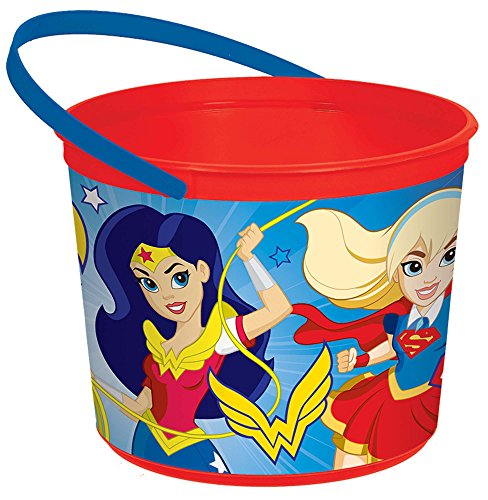 "amscan 260126 DC Super Hero Girlsâ""¢ Plastic Red Pail, One Size"