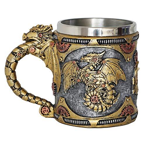 Steampunk-Getriebe-Mechanischer Drachen-Becher – Mittelalterliche Renaissance-Drachen Bierkrug Edelstahl Kaffeetasse Geschenk Tasse für Drachensammler Liebhaber Motto-Party-Dekoration (400 ml)