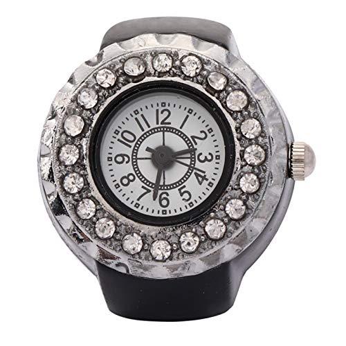 Reloj de anillo de mujer con decoración de diamantes de imitación brillante para novia para ti misma para mamá(black)