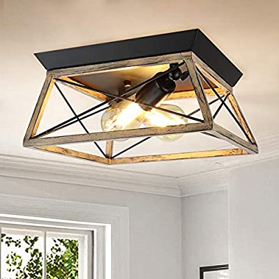 DLLT Industrial Flush Mount Ceiling Light Fixture, Square Farmhouse 2-Light Close to Ceiling Light, Rustic Metal Ceiling Lamp with Wood Texture Finish for Kitchen Bedroom (E26 Base, Bulb Not Included)