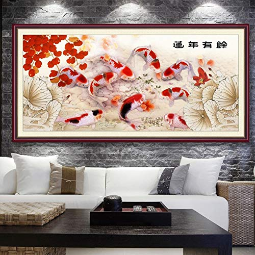 DIY 5D Diamond Painting by Number Kits Large Size Lotus Pond Goldfish Full Drill Rhinestone Embroidery Cross Stitch Mosaic Diamond Art Craft Home Wall Decor Qn4629-Square Drill,40x80cm