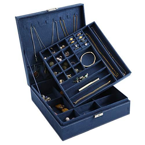 DerBlue Joyero para mujer, organizador de joyas de dos capas con cerradura - 36 compartimentos y partición extraíble para pendientes, pulseras, anillos, relojes, caja