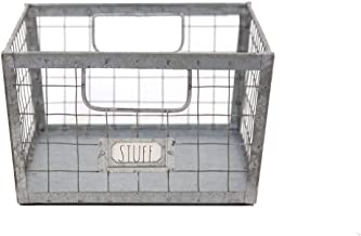 Rae Dunn Wire Storage Basket - Galvanized Steel and Solid Wood Organizer - Decorative Folder Bin with Two Handles and Labe...
