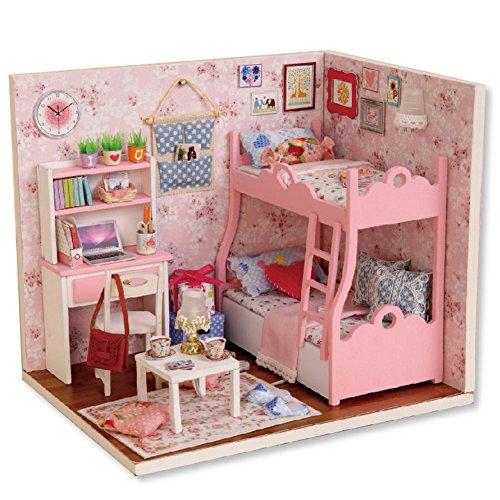 Oshide Puppenhaus Dollhouse DIY Kit Geschenk Mit Abdeckung und LED Licht(Rosa Zimmer)