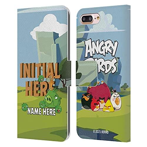 Head Hülle Designs Offiziell Zugelassen Personalisierte Persönliche Angry Bird Holzbrief Kunst Leder Brieftaschen Handyhülle Hülle Huelle kompatibel mit Apple iPhone 7 Plus/iPhone 8 Plus