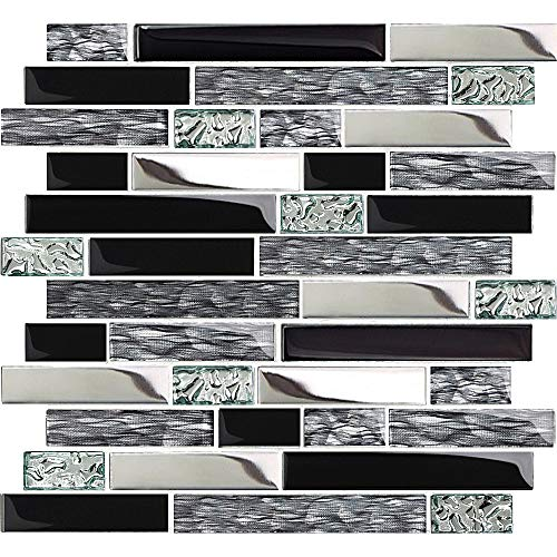 TST Glass Metal Tiles Art Mosaic Silk Black Crystal Glass Chrome Silver Steel Accent Wall Border Kitchen Bath Backsplash Tile TSTNB12 (5 Square Feet)