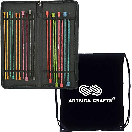 Knitter s Pride Knitting Needles Dreamz Single Pointed 10 inch (25cm) Set 2 of 9 Sizes Bundle with 1 Artsiga Crafts Project Bag 200606