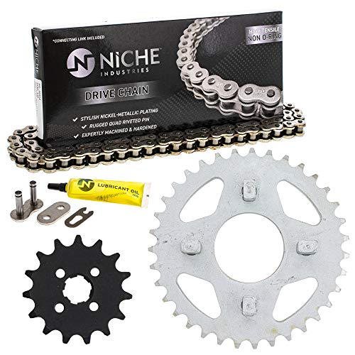 NICHE Drive Sprocket Chain Combo for Honda CT70 ST70 CL70 Front 15 Rear 35 Tooth 420HZ Standard 86 Links