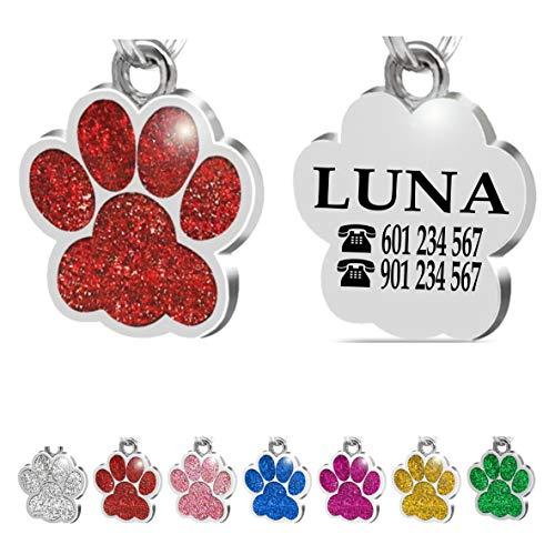 Placa Chapa de identificación Personalizada para Collar Perro Gato Mascota grabada (Rojo)