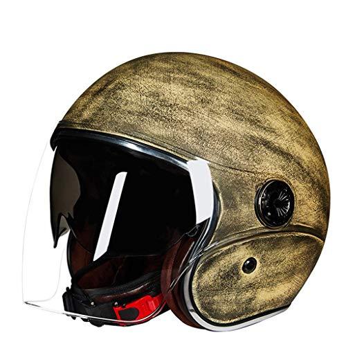 MRDAER Casco para Motocicleta, Visera para el Sol, Hebilla de liberación rápida, Cascos para ciclomotor, ciclomotor, ciclomotor, ciclomotor, ciclomotor, Cruiser, de Media Cara, Aprobado por ECE, pa