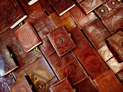 Kooly Zen – Flor de la vida – Libreta – Cuaderno de notas, diario, libro, piel auténtica, vintage, marrón claro, beige, 12,50 cm x 17,50 cm, papel reciclado premium 200 páginas
