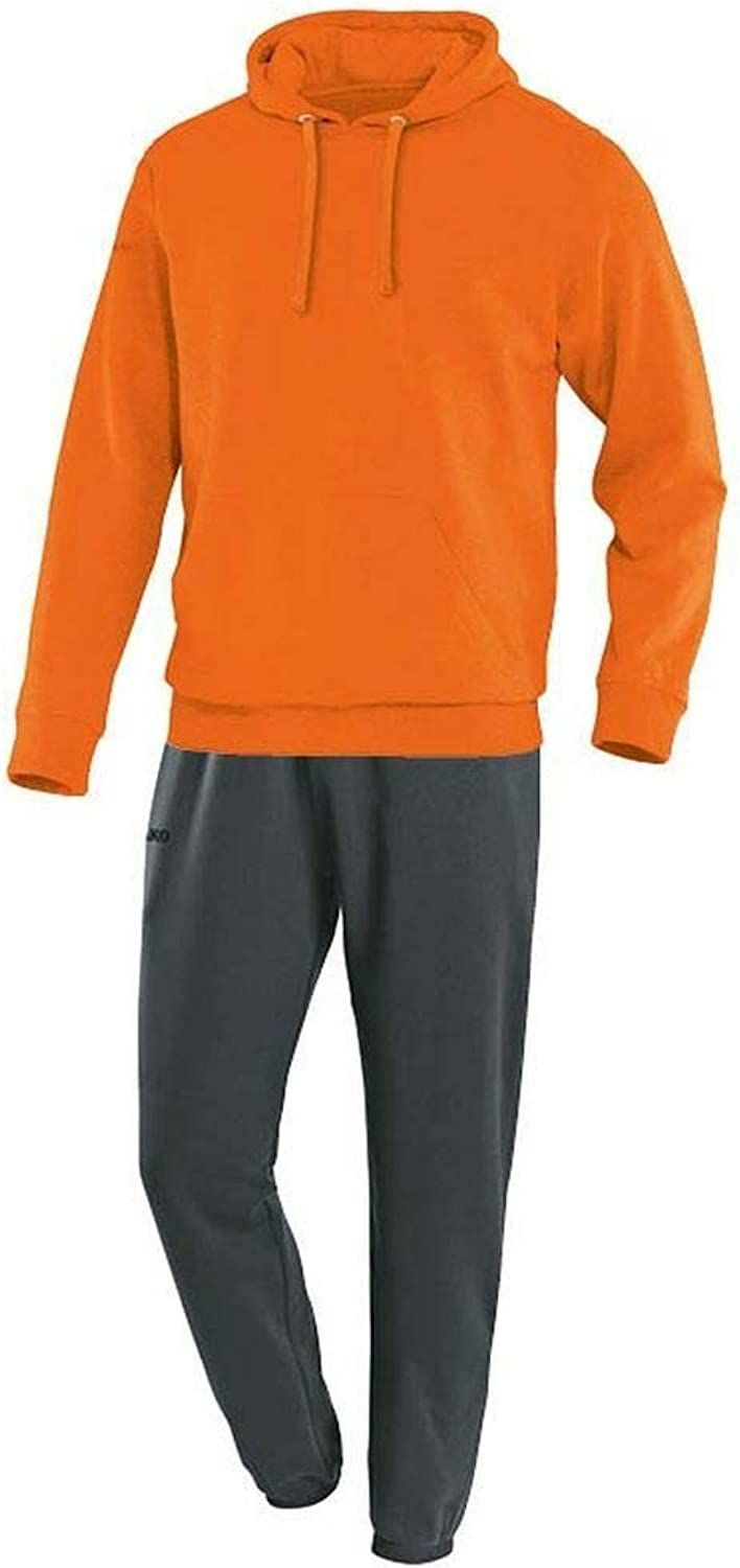 JAKO Fuball Jogginganzug Team mit Kapuzensweat Herren Trainingsanzug Orange