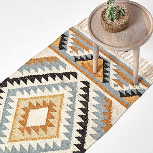 Homescapes Kelim-Teppichläufer Agra, handgewebt aus Wolle/Baumwolle, 66 x 200 cm, bunter Wollteppich/Baumwollteppich mit geometrischem Muster und Fransen, Gold-grau-schwarz