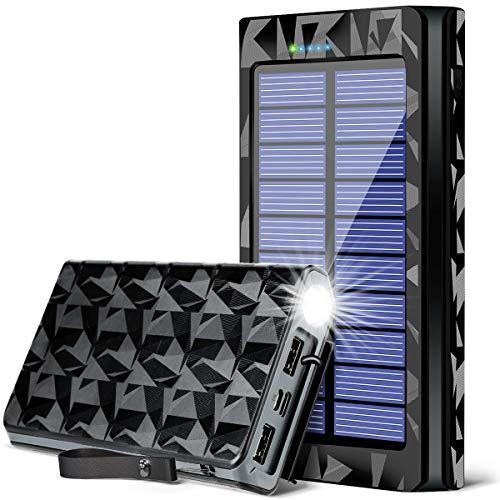 最新版26800mAh LEDライト付き PSE認証済モバイルバッテリー ソーラーチャージャー 防災 携帯充電器 太陽光パネル ポータブル充電器 USB 防水 耐衝撃 災害 非常時 アウトドアの必携品 iPhone iPad Android対応