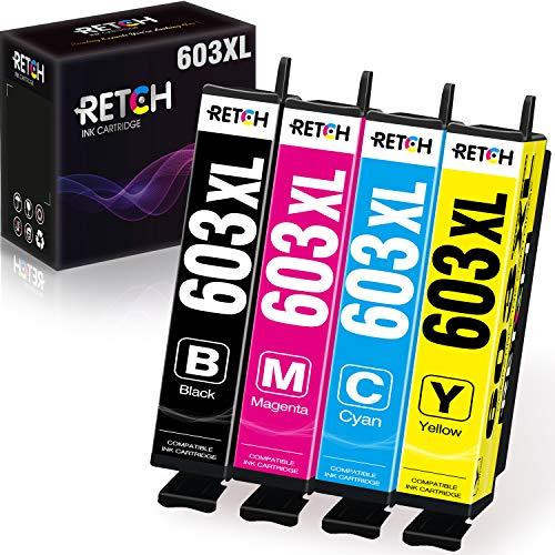 RETCH Kompatible Druckerpatronen für Epson Tintenpatrone 603 603 XL 603XL für Epson Expression Home XP-3100 XP-4100 XP-2105 XP-3105 XP-2100 Workforce WF-2810DWF (1 Schwarz 1 Cyan 1 Magenta 1 Gelb)