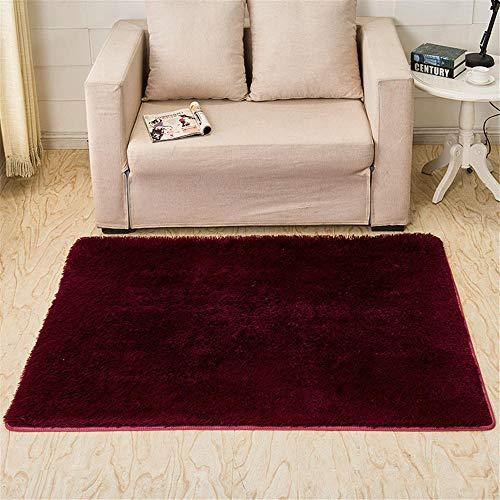 DJHWWD Outdoor Teppich Für Terrasse Reinfarbiger Teppich Dunkelroter Multi-Size 3.5CM Fluff Anti-Dirty Teppich haltbar Teppich XXL Antirutsch Teppich rot 160X200CM