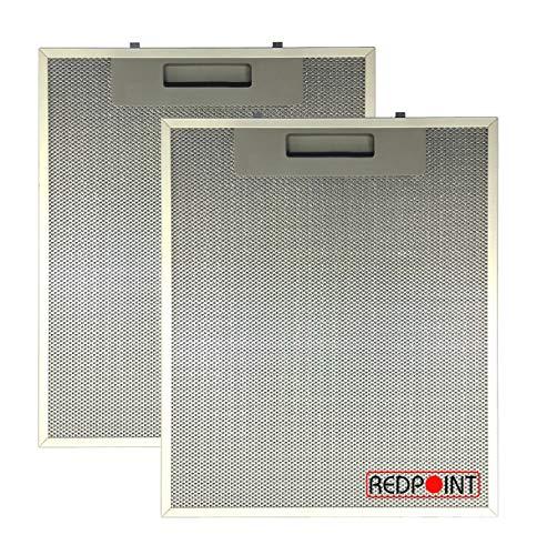 REDPOINT® Set mit 2 Filtern aus Aluminium für Dunstabzugshauben mm 253 x 300 x 8 - Anpassbar: FABER 1330018480 / 133.0018.480