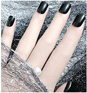 TBOP FAKE NAIL art reusable French long Artifical False nails 24 pcs set jelly gel type in Black color