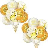 16 Piezas Globos de Aniversario 50 Globos Dorados de Confeti Globos de Látex de Oro Blanco Globos de Aniversario Bodas con Cinta para Decoraciones de Fiesta de 50 Cumpleaños Compromiso