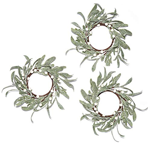 LampLust Christmas Pillar Candle Rings - Set of 3, Mistletoe Wreaths with Pearl Accents, for Holiday Parties and Home Decor