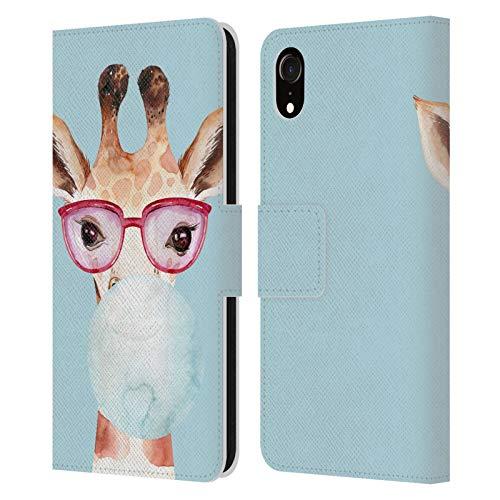 Head Case Designs Officially Licensed Kristina Kvilis Burbuja Azul Gafas de Sol Savanna Carcasa de Cuero Tipo Libro Compatible con Apple iPhone XR
