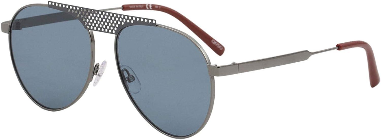 OXYDO O.No. 2.5 PTA A9 Matte Ruthenium Grey Metal Aviator Sunglasses bluee Lens
