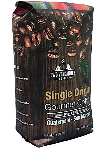 Two Volcanoes Coffee - Gourmet Guatemala Whole Bean Medium Roast Single-Origin Coffee. 1 lb