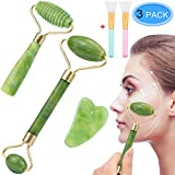 EAONE 5 in 1 Jade Roller Eyes Facial Massage Kit Skin Roller, including 1Pc Double Head Jade Roller, 1Pc Single Head Jade Roller, 1Pc Gua Sha Tool, 2Pcs Face Mask Brush for Face Eyeball Neck Massage