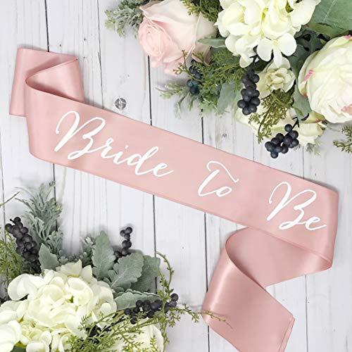 "Bachelorette Sash - Rose Gold Satin - White""Bride To Be"""
