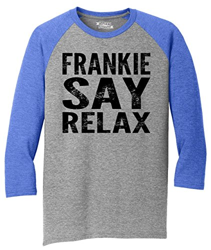 Mens 3/4 Triblend Frankie Say Relax Baseball Shirt, 6 Colors, S to 4XL