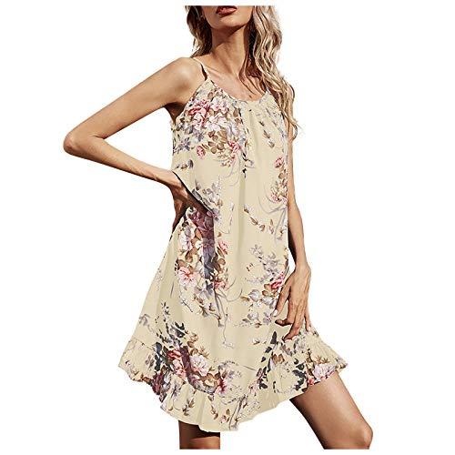 LAIYIFA Vestidos de verano para mujer, vestido floral, casual, suelto, falda sin mangas, vestido de tirantes, beige, M