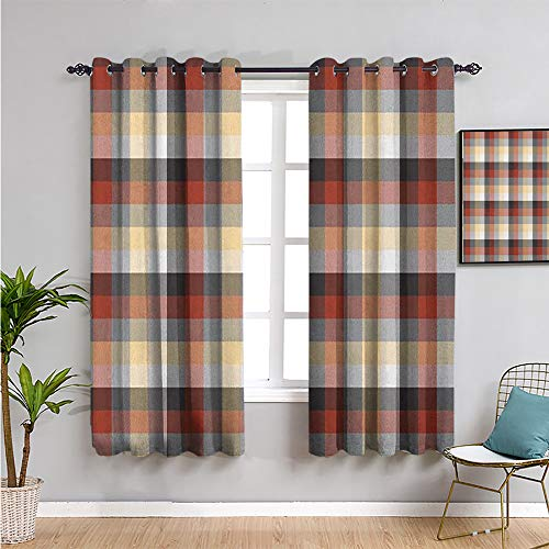 VICWOWONE plaid Curtain panels, Curtains 39 inch length checkered squares pattern with colorful quilt design abstract geometric arrangement Indoor curtain W54 x L39 Inch multicolor