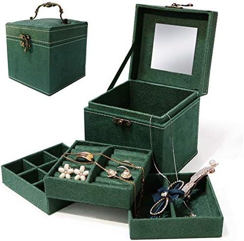 Darolin [Retro Three-Layer Lint] Jewelry Organizer Jewelry Box for Women Girls Kids Small Jewelry Box Travel Portable Jewelry Organizer Holder for Earrings Necklaces Bracelets Rings-Green