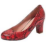 Lydee Mujer Clasico Pumps Zapatos Tacon Ancho Ponerse Fiesta Boda Zapatos Tacones Red Talla 44