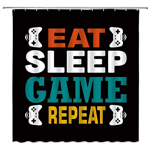 WZFashion Gamer Shower Curtain Modern Game Console Game Controller Funny Quote Eat Sleep Game Repeat Kids Video Game Boys Creative Cool Black Bathroom Curtain Set with Hook