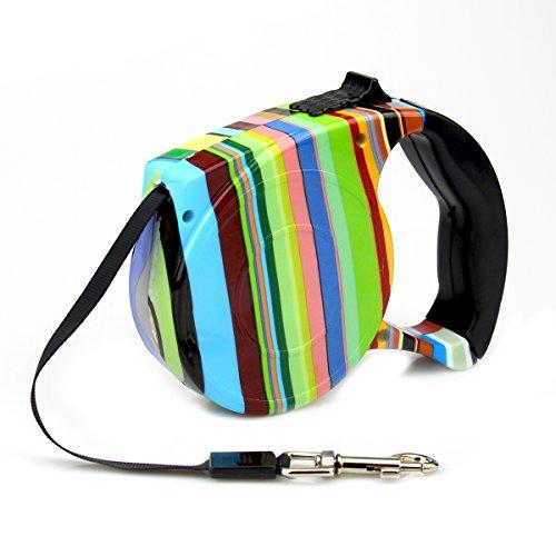 Rrunzfon flexi-Rollleine mit Griff–Ein-Knopf-Bremse und Feststeller, für kleine und mittelgroße Hunde / Katzen / Welpen, reflektierender Gurt, 5m