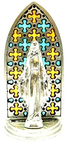 20.079.21002vitrina plateado con figura Maria. Virgen esmaltada a mano 8,5cm