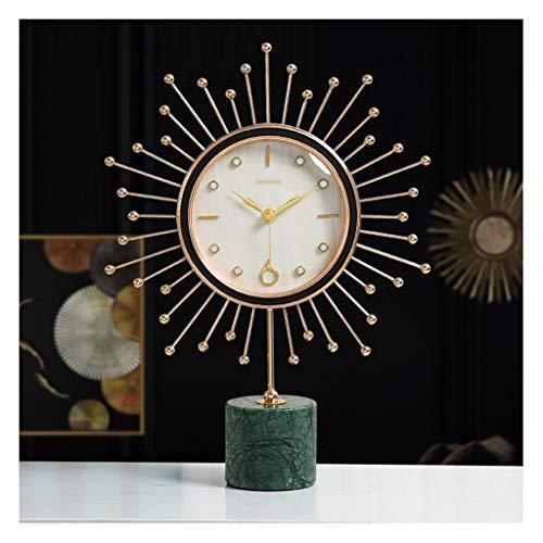 Relojes de escritorio Marco de mármol nórdico reloj 18k marco chapado en oro moderno de la mesa de la mesa de la mesa de la mesa de la mesa de la sala de estar sencillos adornos de escritorio con bate