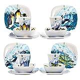 EDGO - Vajilla de melamina, 16 piezas, varios temas y diseño contemporáneo, a prueba de roturas y apto para lavavajillas Océano